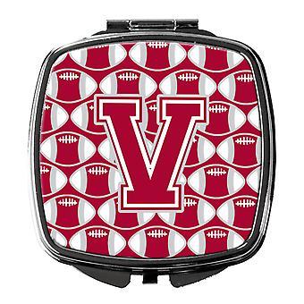 Bogstavet V fodbold Crimson, grå og hvid kompakt spejl