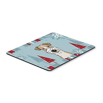 Winter Holiday Wire Haired Fox Terrier Mouse Pad, Hot Pad or Trivet