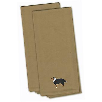 Sheltie/Shetland Sheepdog Tan bordado conjunto de toalha de cozinha de 2