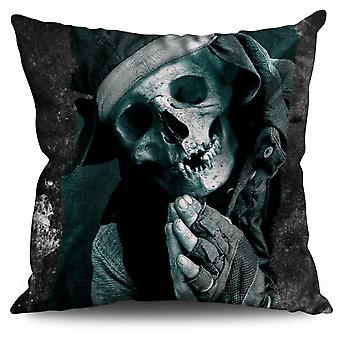 Pray Skeleton Death Skull Linen Cushion Pray Skeleton Death Skull | Wellcoda
