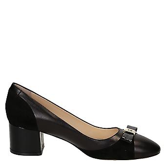 Leonardo shoes women's 51NAPPANEROCAMOSCIONERO black leather pumps