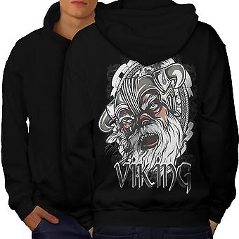 North Warrior Fantasy Men BlackHoodie Back | Wellcoda