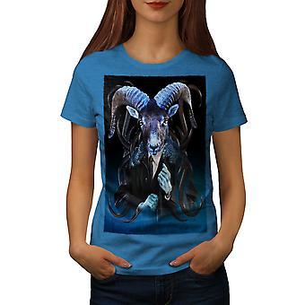 Goat Metal Creepy Women Royal BlueT-shirt | Wellcoda