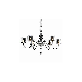 Duca Chrome Six Light Chandelier With Pyrex Diffusers - Ideal Lux 4556