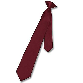 Vesuvio Napoli Boy's CLIP-ON NeckTie Solid Youth Neck Tie