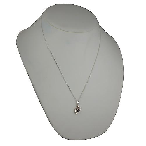 Silver 17x11mm Pendant set with 6mm round Garnet on a curb Chain 22 inches