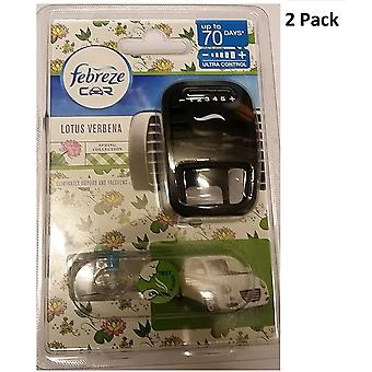 2 X Febreze Car Air Freshener Vent Clip On Diffuser & Refill - Lotus Verbena