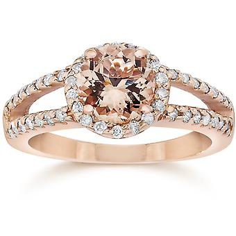 1.65CT Morganite & Diamond delt Shank Halo Ring 14K Rose Gold