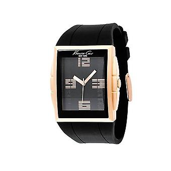 Kenneth Cole Mens Black Rose Gold Rubber Analogue Quartz Watch KC1560