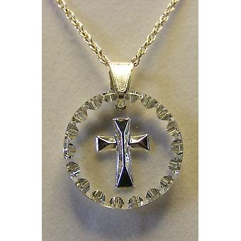 Hand painted small round Cross Crystal Pendant - Silver