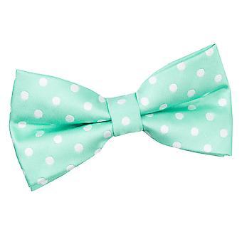 Mint grønne Polka Dot pre knyttet sløyfe