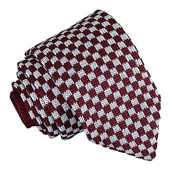 White and Burgundy Check Knitted Slim Tie
