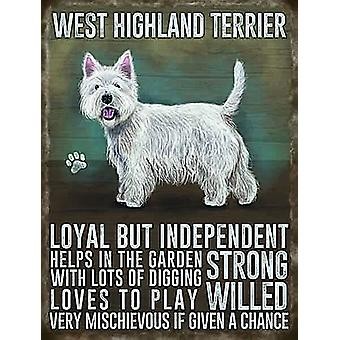 West Highland Terrier petit métal signer 200 X 150 Mm