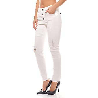 White skinny jeans in the used look short size ladies heine