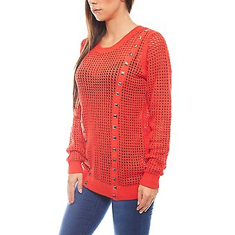 Rick cardona women's round-neck sweater with rivets coral