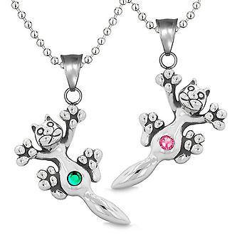 Amuletter søde Kitty kat kærlighed par eller bedste venner sæt grøn Pink mousserende krystaller halskæder