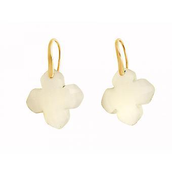 Gemshine - damer - örhängen - 925 försilvrad - agat - beige - GEM - 2,5 cm