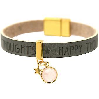 Gemshine - Damen - Armband - STAR - Stern - 925 Silber - Vergoldet - WISHES - Anthrazit - Grau - Rosenquarz - Magnetverschluss