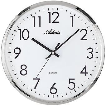 Wand Uhr Wanduhr Quarz hochwertiges ABS-Gehäuse silberfarben schleichende Sekunde