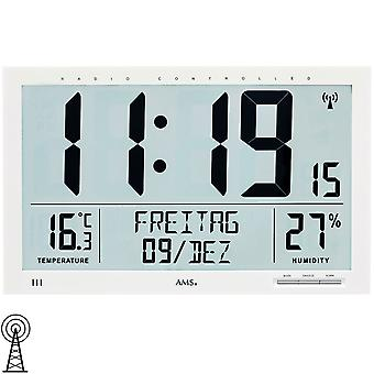 AMS 5887 wall clock clock radio radio controlled wall clock white digital date alarm clock thermometer