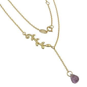 9Kt GOLD Amethyst 1 mm Y chain necklace