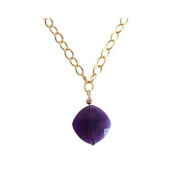 Amethyst violet amethyst gemstone necklace gold plated necklace