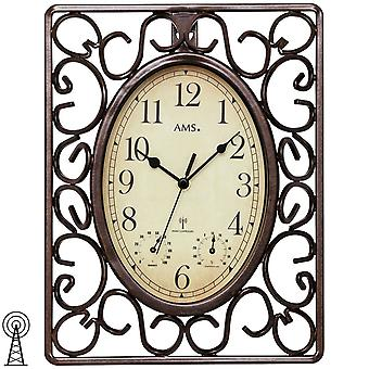 AMS 5976 wall clock radio radio controlled wall clock Brown square antique vintage retro thermometers