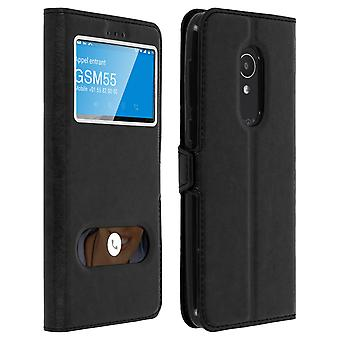 Double window flip standing case for Alcatel 1X with TPU shell - Black