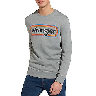 Wrangler Mens Multi Logo Crew Neck Cotton Pullover Sweatshirt Jumper - Grey Marl