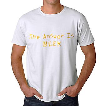 Humor Drink The Answer Is Beer Graphic Men's White T-shirt