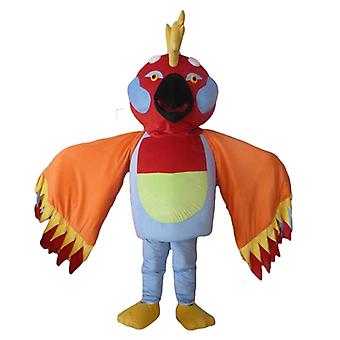 mascot SPOTSOUND of multicolored bird with feathers on the head
