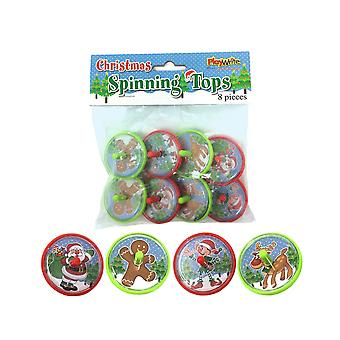 8 Christmas Plastic Spinning Top Toys for Kids Party Bags