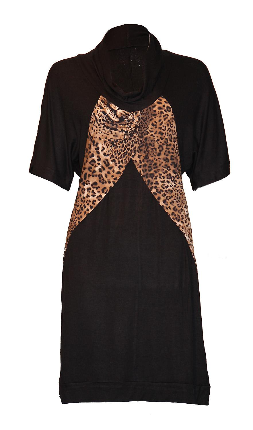 Waooh - Fashion - Long dress with leopard print and thick round neck