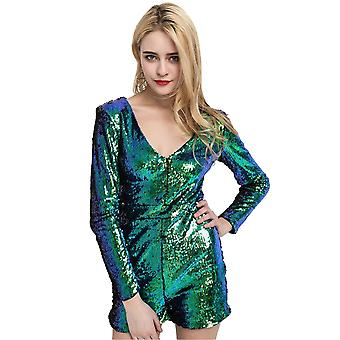 Lovemystyle Iridescent Blue Sequin Playsuit With Long Sleeves