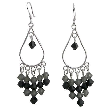 Jet & Black Diamond Swarovski Crystal & Silver Chanderlier Earrings