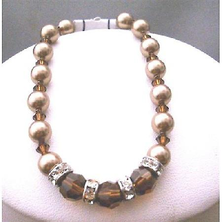 Bronze Pearls Swarovski Smoked Topaz Crystals Bridesmaid Bracelets