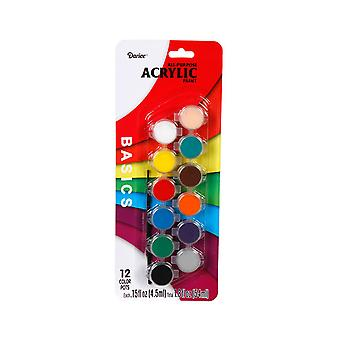 12 Acrylic Paint Pots with Paint Brush - Assorted Colours | Acrylic Craft Paints