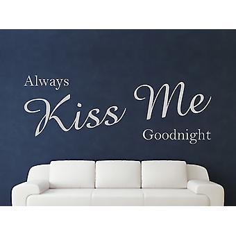 Always Kiss Me Goodnight Wall Art Sticker - Grey