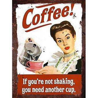 Segno di parete del metallo dell'annata - caffè!