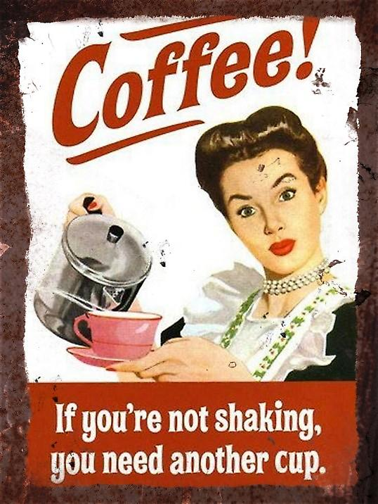 Vintage Metal Wall Sign - Coffee!