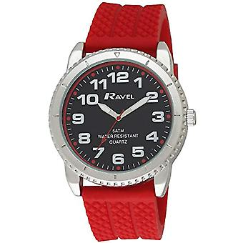 Ravel 5ATM-quartz with black and Red Silicone strap analog display, R5-20.10 g