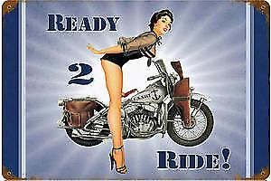 US Navy Ready 2 Ride Harley PinUp rusted metal sign   (pst 1812)