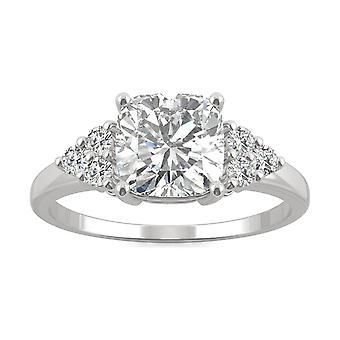 14K białe złoto Moissanite przez Charles idealna Colvard 7mm poduszkę pierścionek zaręczynowy, 1.88cttw rosy