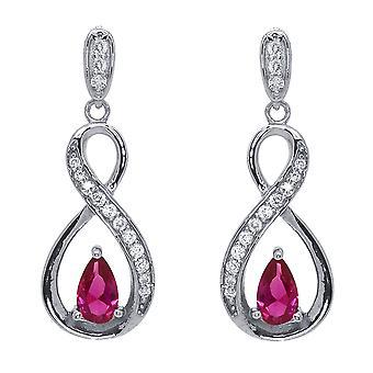 Ah! Bijoux ruban Twist boucles d'oreilles poire fushia & claires cristaux de Swarovski