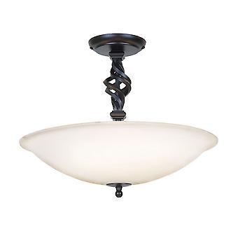 Elstead - 3 Light Semi Flush Ceiling Light Black - PB/SF/A BLACK