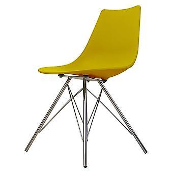 Chaise de salle à manger en plastique iconique de moutarde de fusion avec des jambes en métal de chrome