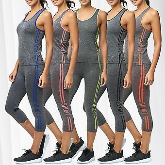 Women's Two Piece Sport Suit Combi Set High Waist Leggings Fitness Top Training