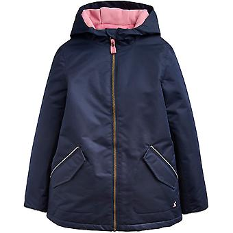 Joules Girls Raindrop Warm Fleece Hood Waterproof Rain Coat