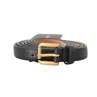 Dolce & Gabbana Black Leather Gold Logo Buckle Belt -- BEL8319408