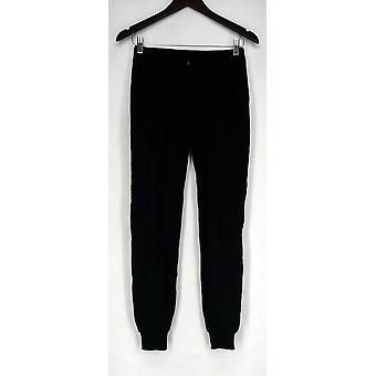 Pantalon Giuliana Slim Leg Pull On Elastic Waist Dark Black Womens 461-062